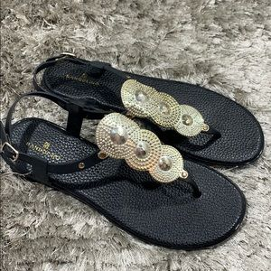 Bandolino fashion black/gold sandals 9.5